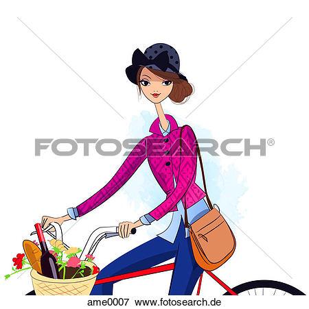 Wein und essen clipart picture royalty free library Stock Illustration - a, frau, fahrrad, mit, essen, wein, und ... picture royalty free library