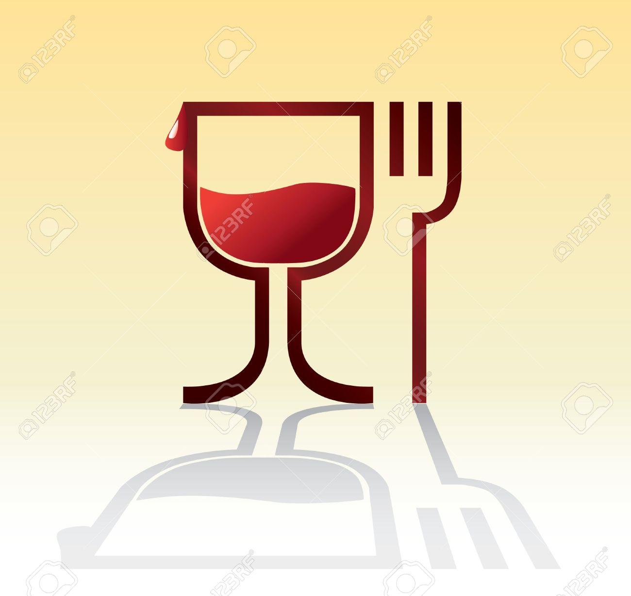 Wein und essen clipart image stock Essen Und Trinken Symbol Mit Wein - Illustration Lizenzfrei ... image stock