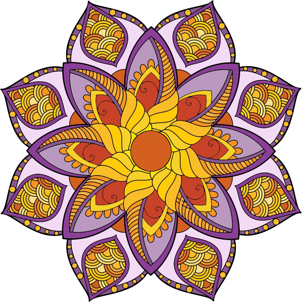 Weird flower clipart vector transparent Colorful Flower Coloring Pages Component - Coloring Page ... vector transparent