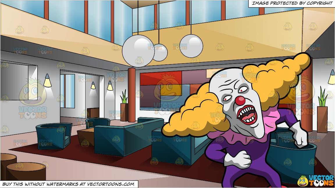 Weird hotel clipart clipart black and white stock A Creepy Clown With A Weird Wig and A Swanky Art Deco Style Hotel Lobby clipart black and white stock