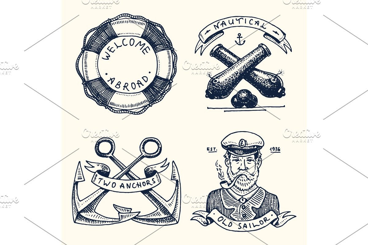 Welcome aboard lifering clipart clipart free set of engraved vintage, hand drawn, old, labels or badges for a life ring,  a cannon ball, a captain with a pipe. welcome aboard, two anchors, sailor.  ... clipart free