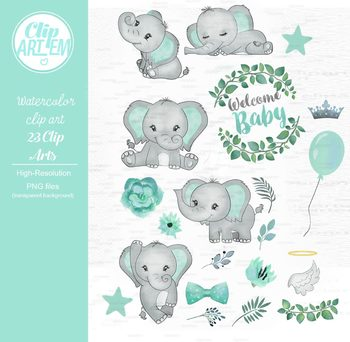 Welcome baby clipart clip art royalty free library Welcome Baby elephant watercolor clipart in mint green and gray clip art royalty free library