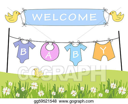Welcome baby clipart svg free Stock Illustration - welcome baby announcement . Clipart ... svg free