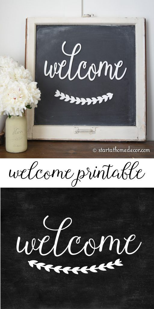 Welcome chalkboard clipart free picture royalty free library DIY Chalkboard Welcome with Free Printable | "|512|1024|?|en|2|c41ae141bba430116b2fe80d0f808726|False|UNLIKELY|0.41205087304115295