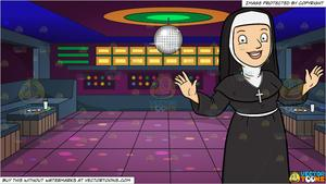 Welcome clipart with funny nuns vector black and white A Happy Nun Greeting Everyone A Warm Welcome and A Groovy Looking Nightclub  Dance Floor Background vector black and white