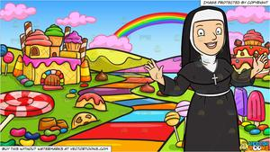 Welcome clipart with funny nuns banner free library A Happy Nun Greeting Everyone A Warm Welcome and A Candy Land Background banner free library