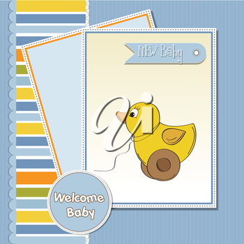 Welcome ducks clipart svg library download Royalty Free Clipart Image of a Welcome Baby Card With a Toy ... svg library download