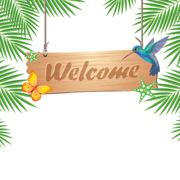 Welcome free clipart tree svg royalty free 2019 的 Welcome Wooden Hanging With Tropical, Welcome ... svg royalty free