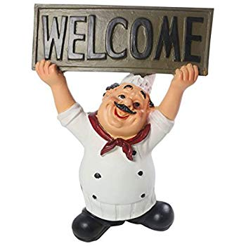Welcome home cook clipart royalty free stock KiaoTime Chef Figurine with WELCOME Sign Board Plaque Home Kitchen  Restaurant Decor 8\