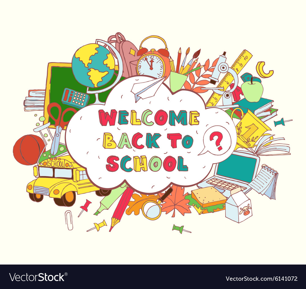 Welcome home from bus clipart image free library Cloud frame greeting card welcome back to school image free library