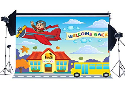 Welcome home from bus clipart image transparent Amazon.com : RBabyPhoto Welcome Back to School Backdrop ... image transparent