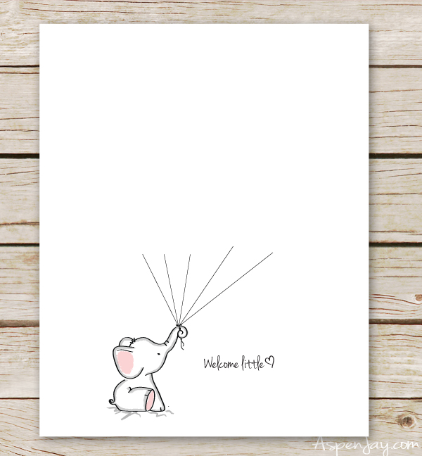 Welcome little one clipart svg royalty free download Elephant Baby Shower Guest Book Printable - Aspen Jay svg royalty free download