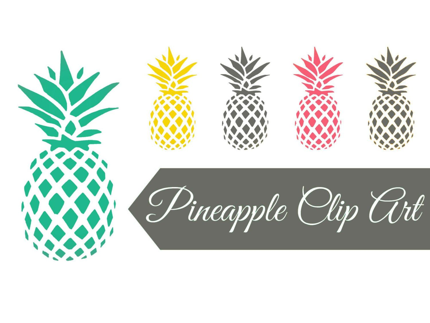 Welcome pineapple clipart png free download Digital clip art   Pineapples pink aqua yellow grey ... png free download