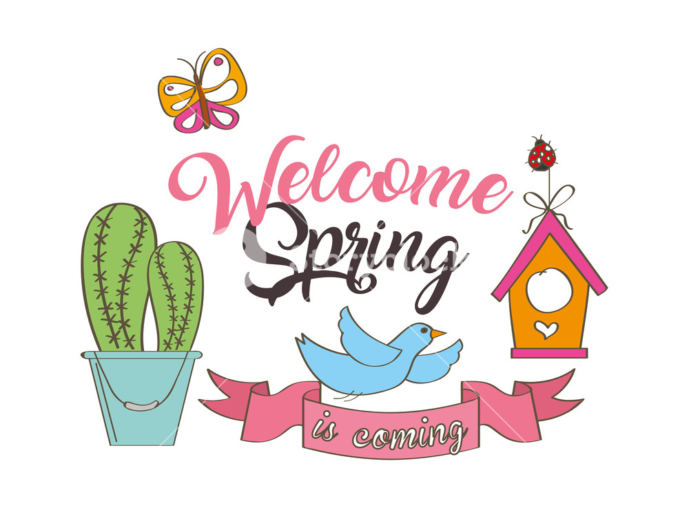 Welcome spring image clipart vector free stock seasonal weather welcome spring cactus bird butterfly vector ... vector free stock