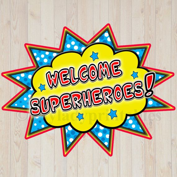Welcome superheroe clipart freeuse stock PRINTABLE Welcome Superhero Sign, INSTANT DOWNLOAD ... freeuse stock