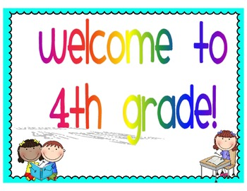 Welcome to 4th grade clipart banner black and white Welcome to 4th Grade Signs by lovingliteracy | Teachers Pay ... banner black and white