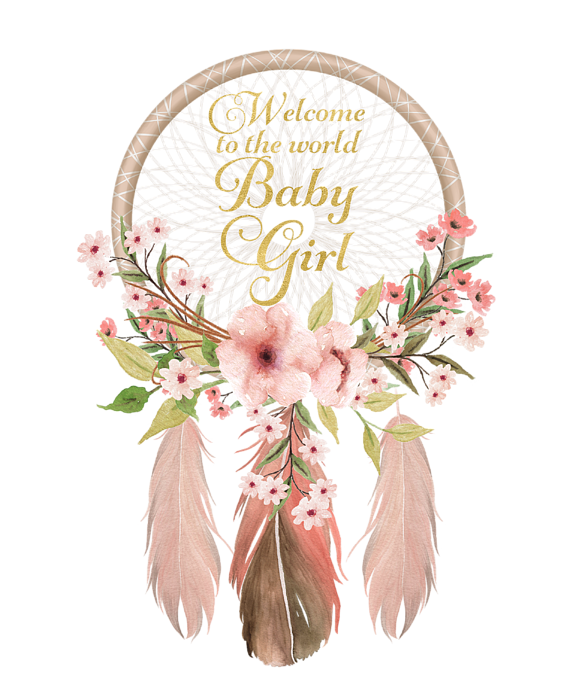 Welcome to the world baby girl clipart jpg royalty free library Welcome To The World Baby Girl Dreamcatcher Greeting Card jpg royalty free library