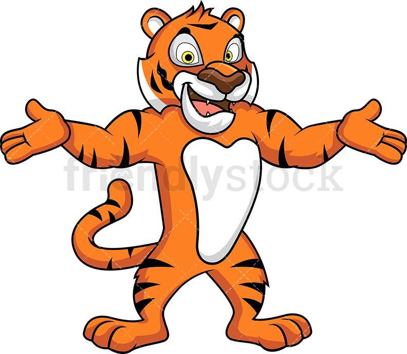 Welcomeing animal clipart picture transparent stock Tiger Mascot With Open Arms | Clipart Of Animals | Open arms ... picture transparent stock