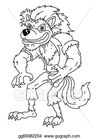 Werewolf clipart black and white image royalty free stock Vector Art - Black and white werewolf cartoon. Clipart ... image royalty free stock