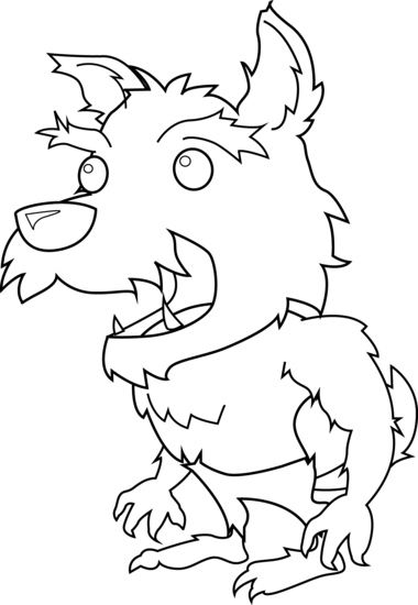 Werewolf clipart black and white svg royalty free download Scary Little Werewolf Coloring Page - Free Clip Art svg royalty free download