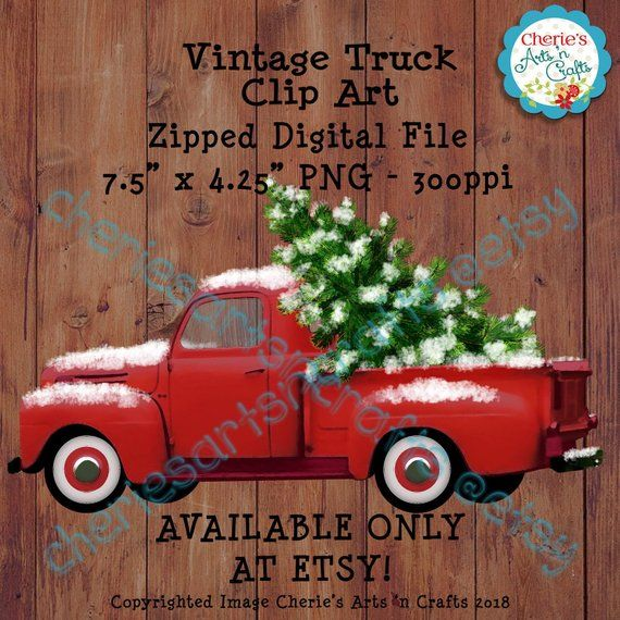 Werner truck clipart picture Vintage Red Truck, Christmas Tree and Snow Clipart | Vintage ... picture