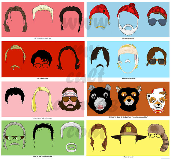 Wes anderson clipart banner free stock Original Wes Anderson Art Print Poster set 1-8 Royal ... banner free stock