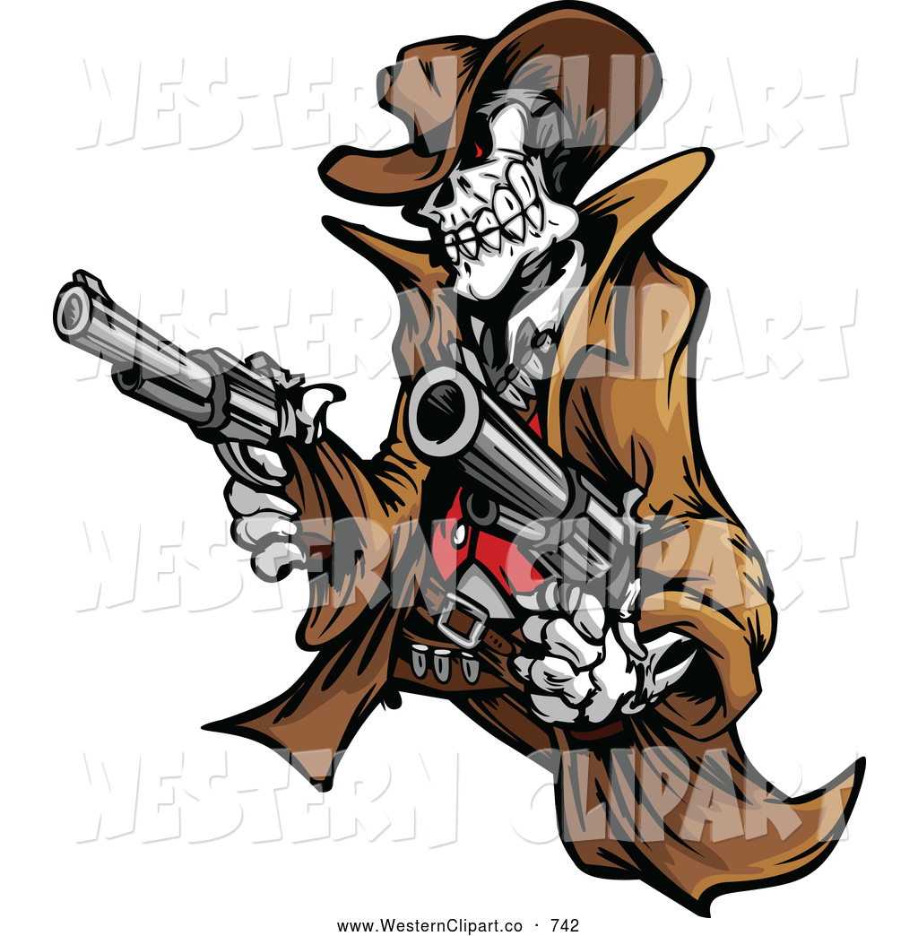 Western bandit clipart image freeuse library Vector Western Clip Art of a Skeleton Cowboy Outlaw Holding ... image freeuse library