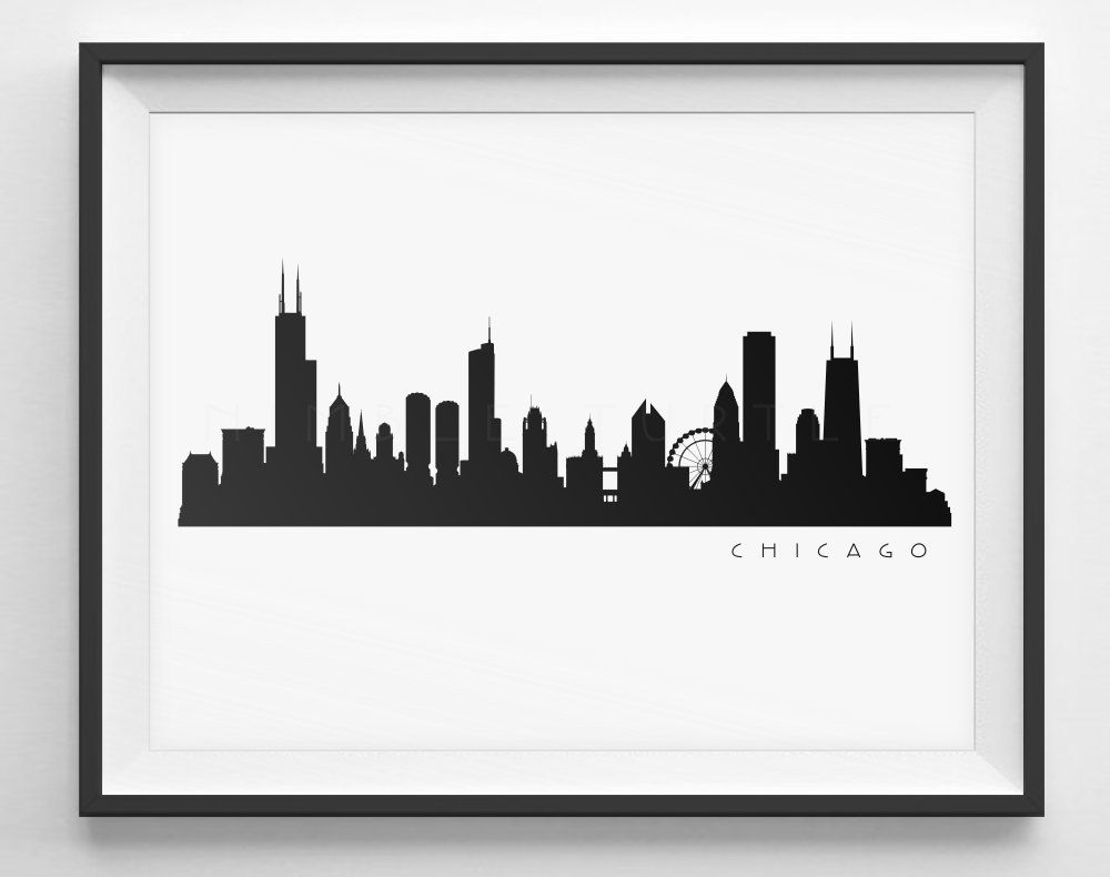 Western bank building clipart free black and white jpg transparent Chicago Skyline Silhouette - Printable Skyline - PDF, png ... jpg transparent