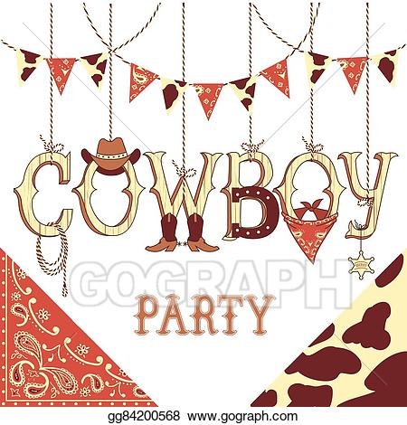 Western bingo clipart free EPS Illustration - Cowboy party text. background isolated on ... free
