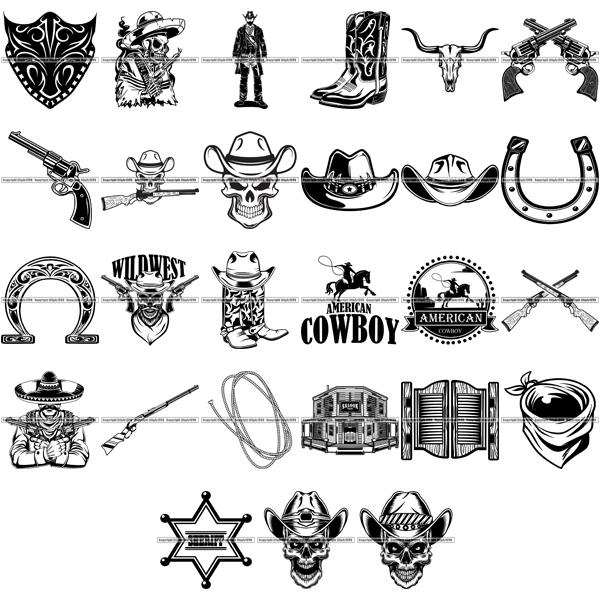 Western bingo clipart clip art black and white Cowboys – ClipArt SVG clip art black and white