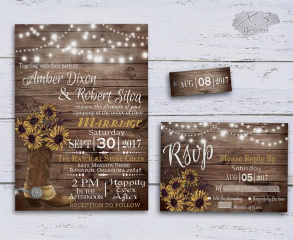 Western clipart invitations clipart library stock 22+ Sunflower Wedding Invitation Templates – PSD, AI, Word ... clipart library stock