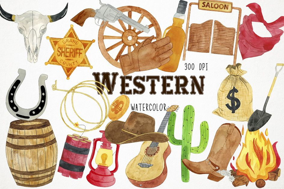 Western images clipart vector transparent stock Watercolor Western Clipart, Western Clip Art, Cowboy Clipart vector transparent stock