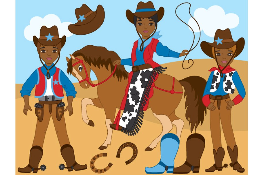 Western clipart vector clipart royalty free stock Vector African American Cowboy Set clipart royalty free stock