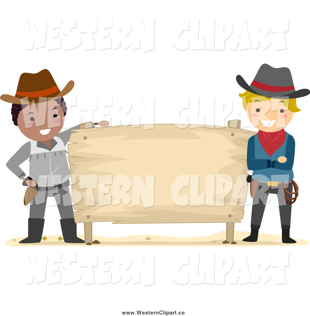 Western clipart wood sign graphic download Vector Clip Art of Stick Cowboys with a Blank Wood Sign by ... graphic download