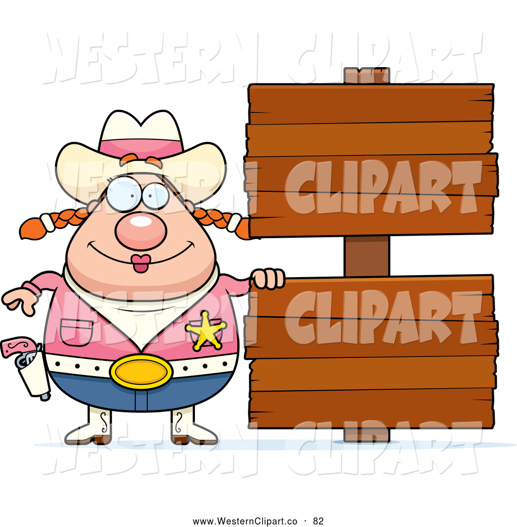 Western clipart wood sign clipart library Vector Western Clip Art of a Chubby Cowgirl with a Pink Vest ... clipart library