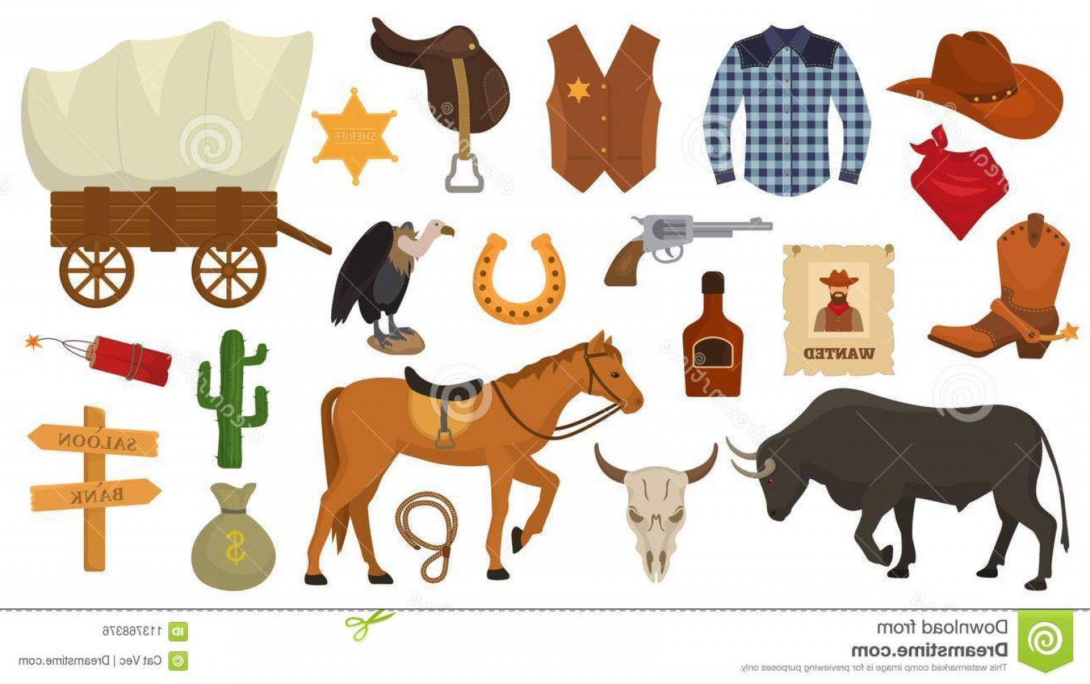 Western desert clipart transparent library Wild West Vector Western Cowboy Sheriff Signs Hat Horseshoe ... transparent library