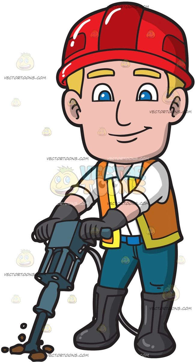 Western drilling clipart banner royalty free library A Male Construction Worker Drilling The Ground: A man with ... banner royalty free library