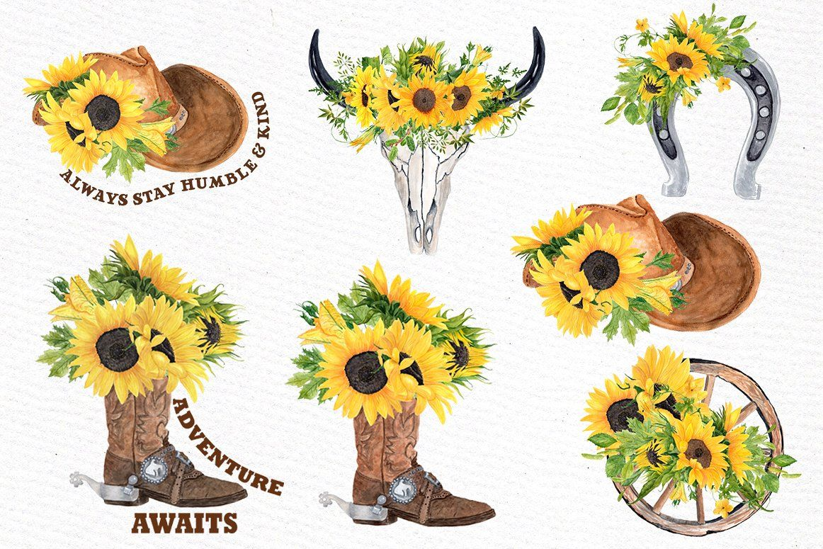 Western floral clipart svg black and white stock Sunflower Clipart, WESTERN CLIPART #designs#wedding#Perfect ... svg black and white stock