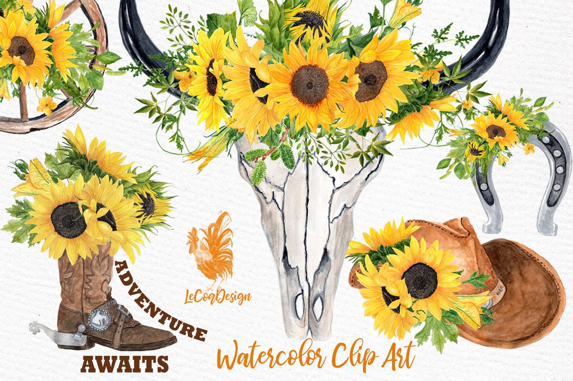 Western floral clipart clipart black and white Sunflower Clipart, WESTERN CLIPART,Cowboy clipart,Cowboy set clipart black and white