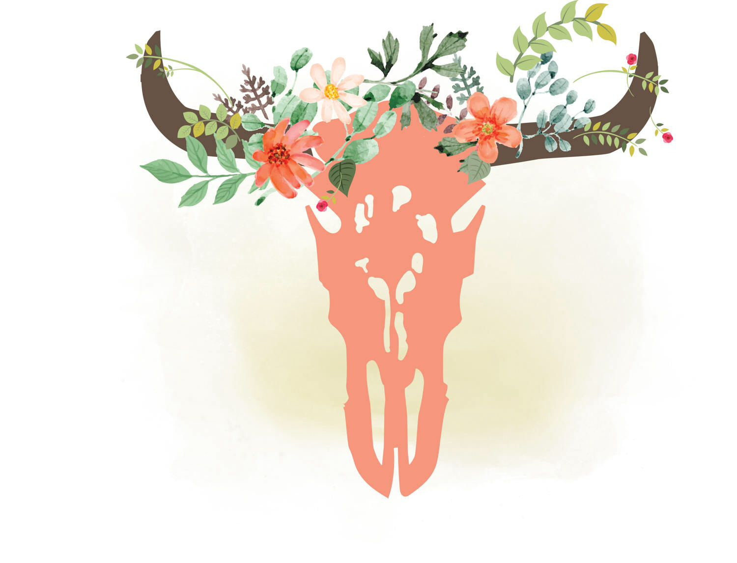Western floral clipart graphic transparent download Cow skull svg clipart, floral bull Skull Clipart, Boho ... graphic transparent download
