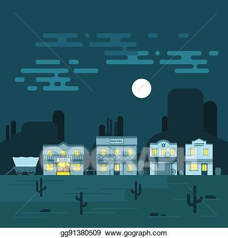 Western hotel clipart clipart freeuse stock EPS Vector - Vector illustration of an old western town at ... clipart freeuse stock