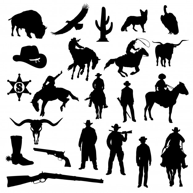 Western land clipart svg free library Cowboy far west america silhouette clip art vector Vector ... svg free library