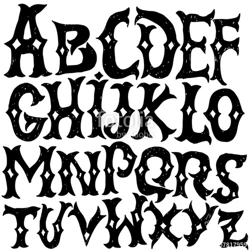 Western lettering clipart free jpg free download Antique alphabet. Gothic letters. Vintage hand drawn font ... jpg free download