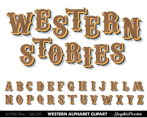 Western letters clipart svg library Country Western Digital Alphabet, Steampunk Clip Art ... svg library