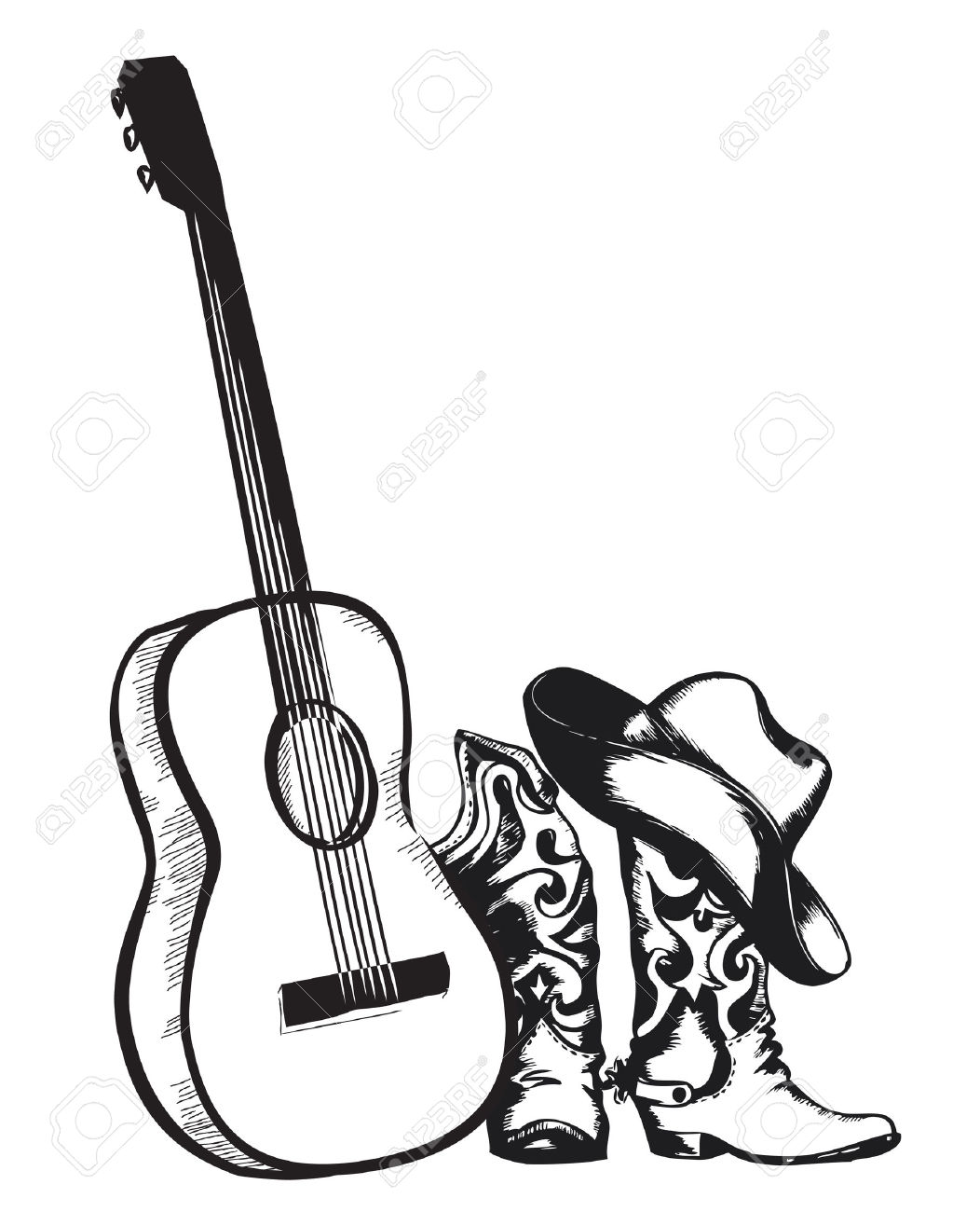 Western music clipart black and white png banner stock Musical Instruments Cliparts | Free download best Musical ... banner stock