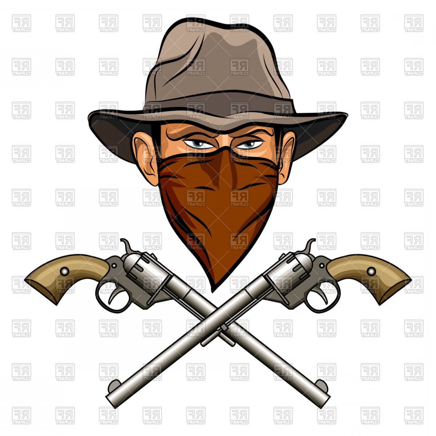 Western revolver clipart clip art free library Bandit In Hat With Bandana On Face And Two Crossed Guns Six ... clip art free library