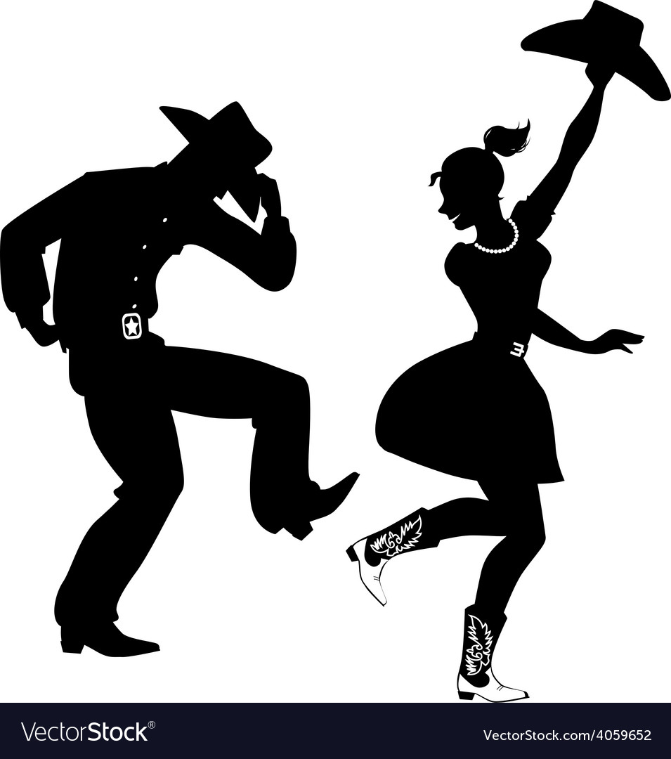 Western saloon silhouette clipart graphic Silhouette of Country-Western dancers graphic