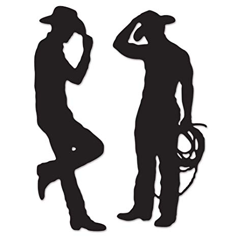 Western saloon silhouette clipart graphic free download Beistle 54225 Cowboy Silhouettes, 35-Inch and 37-Inch graphic free download