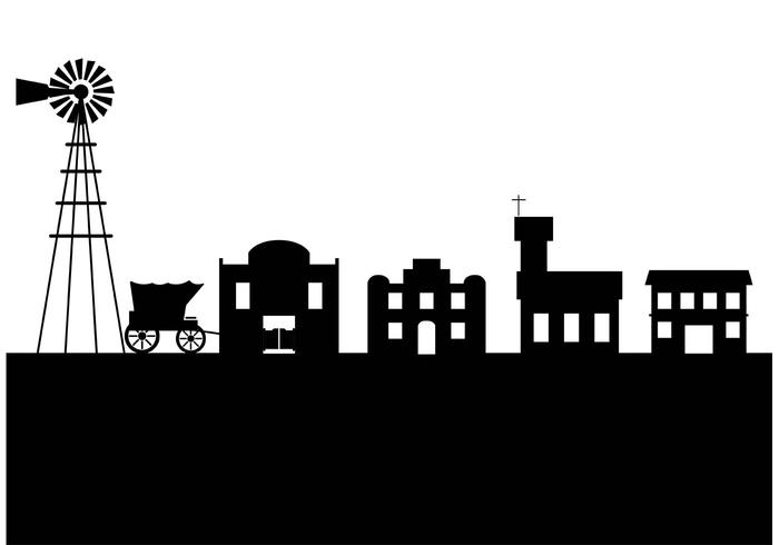 Western saloon silhouette clipart picture free stock Old west town silhouette - Download Free Vectors, Clipart ... picture free stock