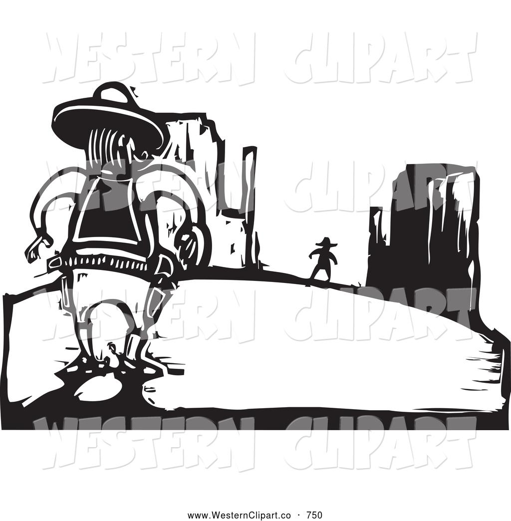 Western showdown clipart clip black and white download Vector Western Clip Art of Black and White Woodcut Wild West ... clip black and white download
